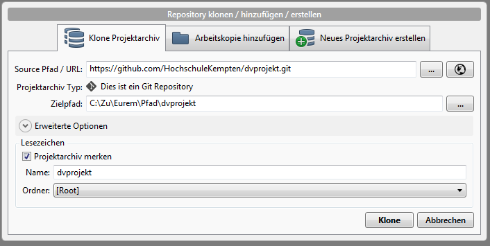 Neues Repository in SourceTree anlegen