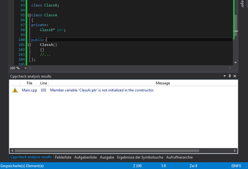 Cppcheck-Fenster in Visual Studio